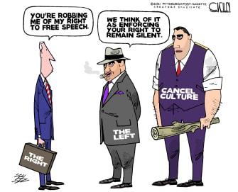 Editorial Cartoon U.S. right left cancel culture