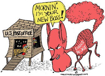 Political Cartoon U.S. USPS Post Office Trump Louis DeJoy Devil