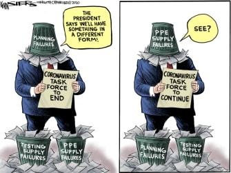 Political Cartoon U.S. Trump coronavirus task force
