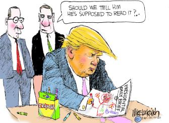 Political Cartoon U.S. Trump intelligence briefing