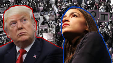 President Trump and Alexandria Ocasio-Cortez in front of supporters.