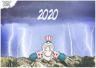 Editorial Cartoon U.S. 2020 COVID wildfires Trump