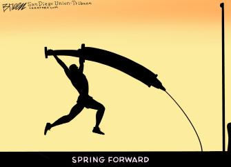 Editorial Cartoon U.S. covid vaccine daylight savings