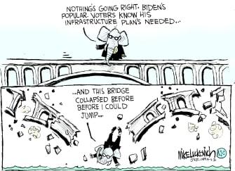 Political Cartoon U.S. gop biden infrastructure