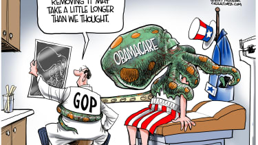 Political Cartoon U.S. GOP Obamacare repeal more complicated than expected