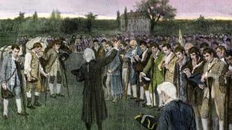 Militia assemble during the American Revolution.