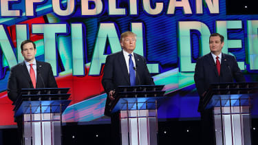 Republican presidential candidates Marco Rubio, Donald Trump, and Ted Cruz