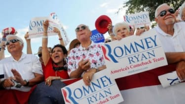 People listen to Rep. Paul Ryan (R-Wis.) during a campaign stop in Florida