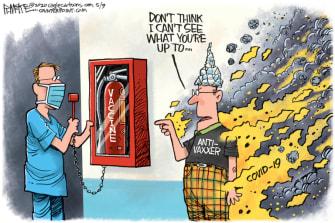 Editorial Cartoon U.S. anti vaccine conspiracy theories coronavirus