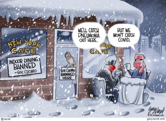 Editorial Cartoon U.S. New York indoor dining COVID