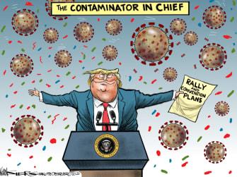 Political Cartoon U.S. Trump Tulsa rally coronavirus