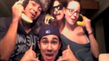 """Selena Gomez (center) and buddies, including boyfriend Justin Beiber (not pictured), jump on the """"Call Me Maybe"""" bandwagon with their own lip-synch video."""