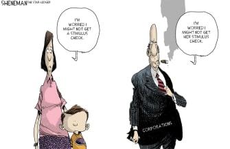 Political Cartoon U.S. Trump Coronavirus Americans stimulus check corporations workers
