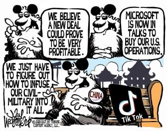 Political Cartoon World TikTok China Tech Surveillance