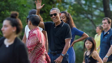 Obama and his family visit Indonesia's 9th-century Borobudur Temple in Magelang.