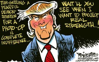 Political Cartoon U.S. Trump protests