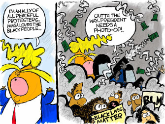 Political Cartoon U.S. Trump George Floyd church photo op