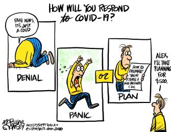 Editorial Cartoon U.S. Coronavirus Jeopardy Alex Trebek planning denial panic