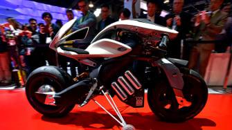 An autonomous motorcycle.