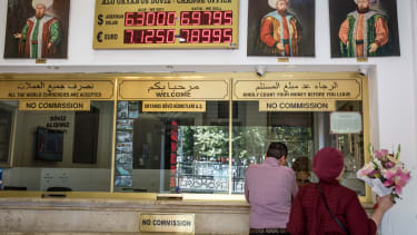A currency exchange in Istanbul.