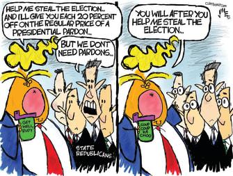 Political Cartoon U.S. Trump election steal GOP pardons
