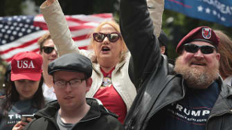 Donald Trump supporters in Portland on Sunday.