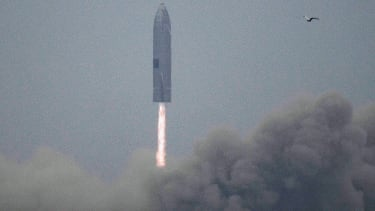 The SpaceX Starship prototype takes off.