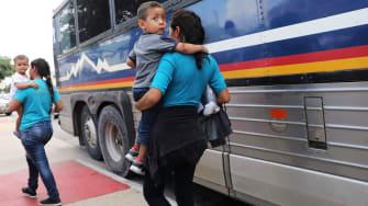 Migrant families in McAllen, Texas