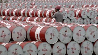 Oil barrels at a storage depot in Jakarta, Indonesia.