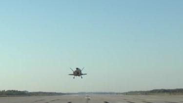 X-37B plane landing.
