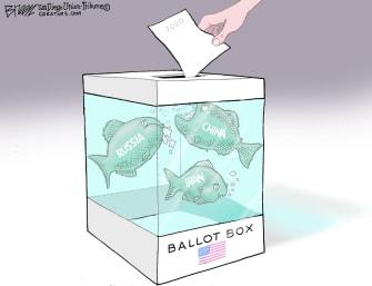 Political Cartoon U.S. ballot election 2020 Russia China Iran
