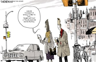 Political Cartoon U.S. Trump Europe Coronavirus travel ban white people racism