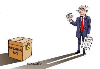 Political Cartoon U.S. Sanders drops out electoral social distancing
