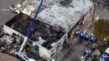 Aerial shot of warehouse fire.