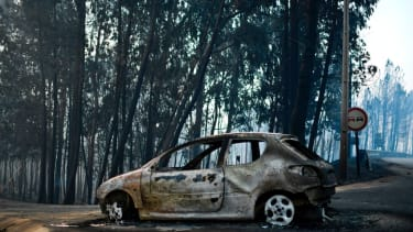The aftermath of a wildfire in Portugal
