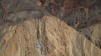An FA-18E Super Hornet flies through Death Valley National Park.