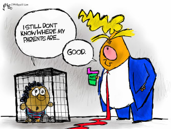 Political Cartoon U.S. Trump children border