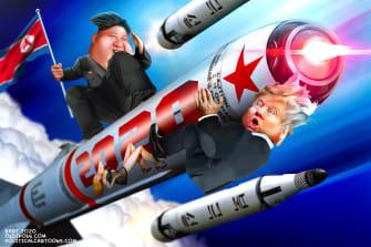 Political Cartoon U.S. Kim Jong Un Trump Nuclear Surprise
