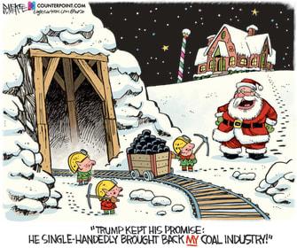 Political Cartoon U.S. Trump Santa Claus coal industry