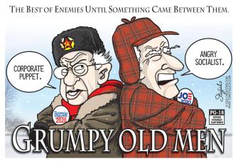 Political Cartoon U.S. Bernie Biden Grumpy Old Men socialist corporate