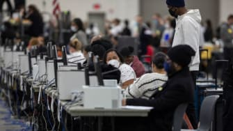 Detroit Department of Elections workers at the TCF Center