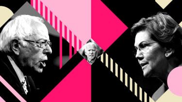 Bernie Sanders, Elizabeth Warren, and Joe Biden.