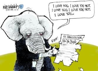 Political Cartoon U.S. GOP constitution