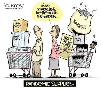 Editorial Cartoon U.S. Pandemic supplies Burr Loeffler Inhofe Feinstein insider trading tar feathers