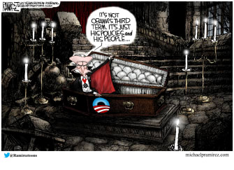 Political Cartoon U.S. Biden Obama third term