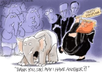 Political Cartoon U.S. GOP Trump discipline