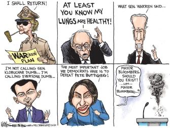 Political Cartoon U.S. Bernie Sanders Elizabeth Warren Michael Bloomberg Nevada democratic debates 2020 primaries health war dumb smoked