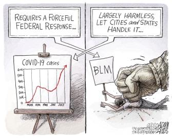 Political Cartoon U.S. Trump COVID response BLM Portland protests