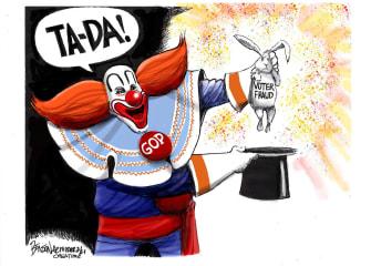 Political Cartoon U.S. gop voter fraud clown