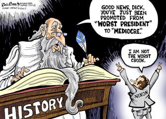 Political Cartoon U.S. Trump Nixon worst president